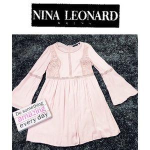 Nina Leonard Pink Lace Trapeze Dress
